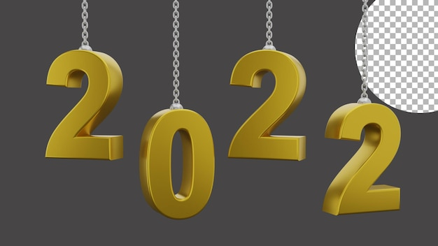 3d happy new year 2022 elegant luxury gold chain rotation concept high quality