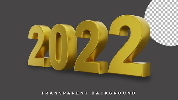 3d happy new year 2022 elegant luxury gold from side concept high quality