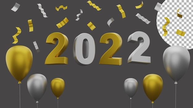 3d happy new year 2022 elegant luxury gold silver balloon party paper concept high quality