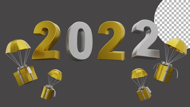 3d happy new year 2022 elegant luxury gold silver flying giftbox concept high quality