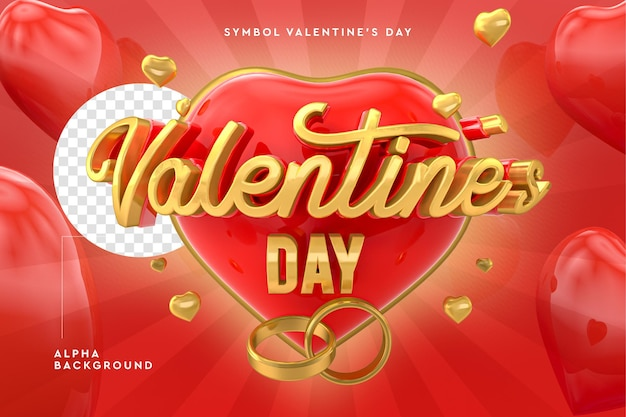 3d happy valentine's day logo with hearts in 3d rendering