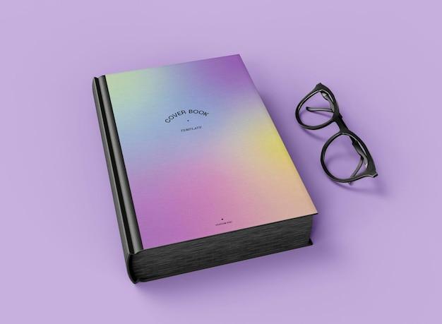 3d-макет книги в твердом переплете с очками