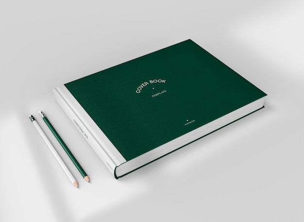 3d-макет книги в твердом переплете с карандашами