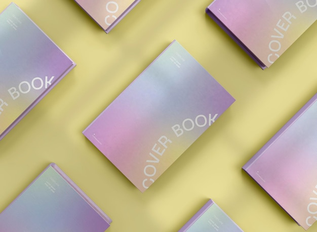 3d hardcover books mockup top view