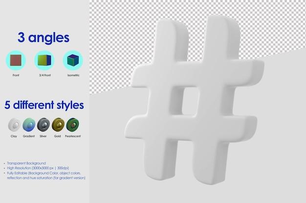 3d hashtag icon