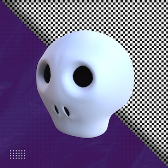 3d head skull hallowen illustration premium psd