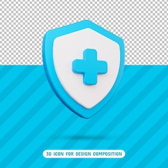 Значок щита здоровья 3d в рендеринге 3d