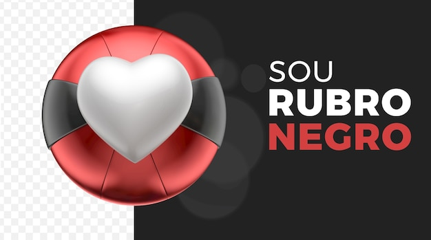 3d heart like ball red black