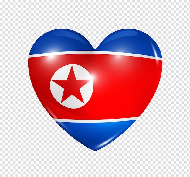 3d heart north korea flag icon isolated