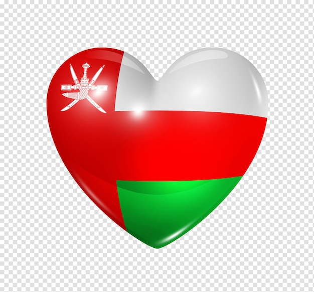 3d heart oman flag icon isolated