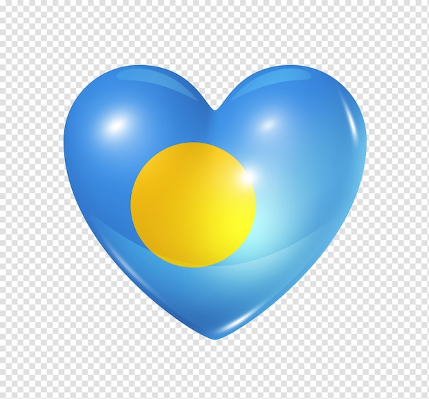 3d heart palau flag icon isolated