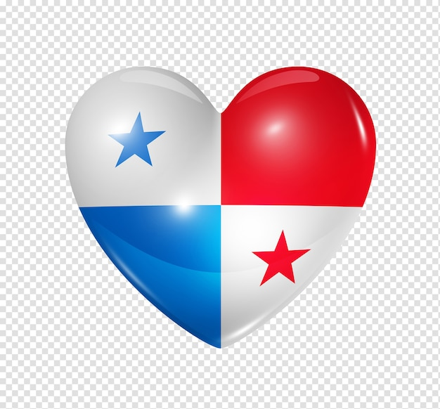 3d heart panama flag icon isolated