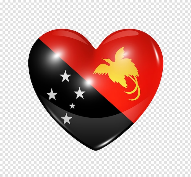 3d heart papua new guinea flag icon isolated