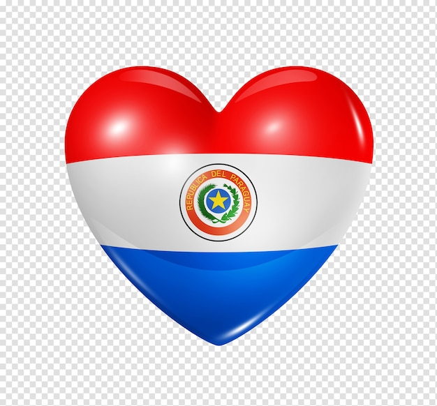 3d heart paraguay flag icon isolated