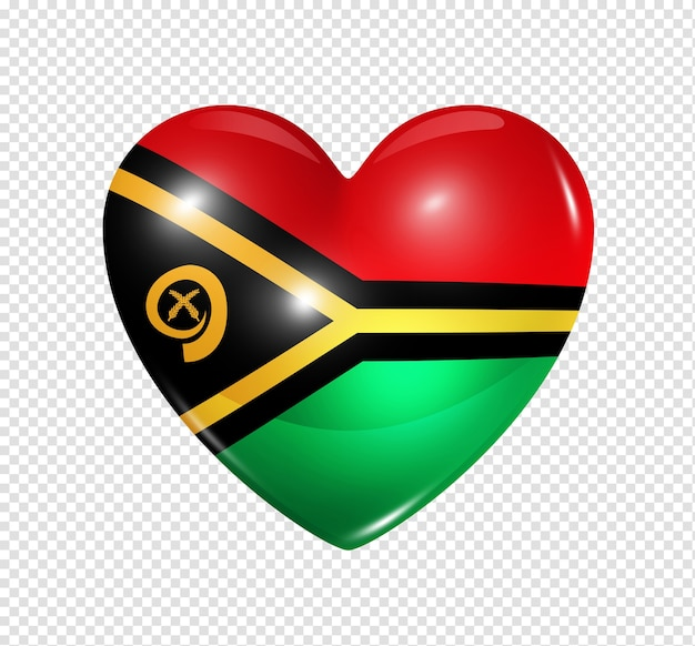 3d heart vanuatu flag icon isolated