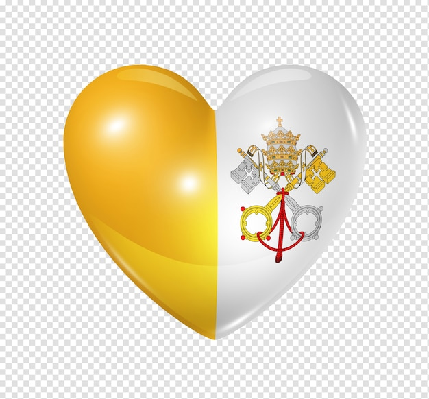 3d heart vatican city flag icon isolated