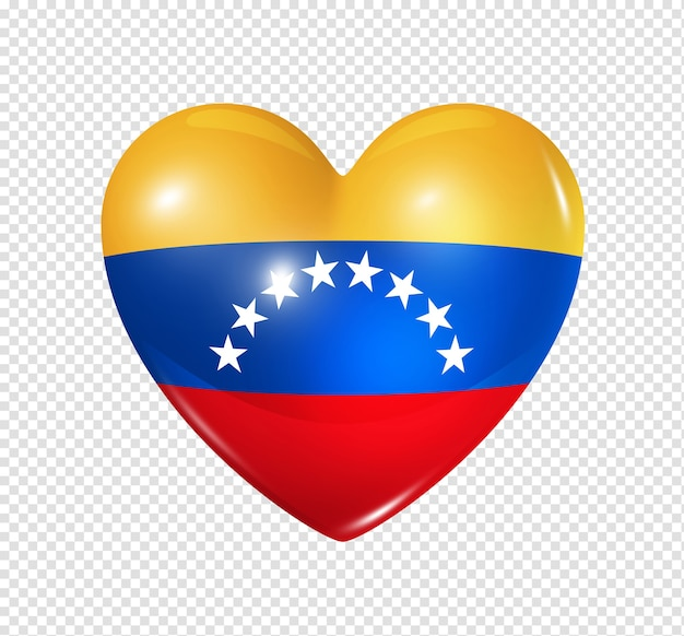 3d heart venezuela flag icon isolated