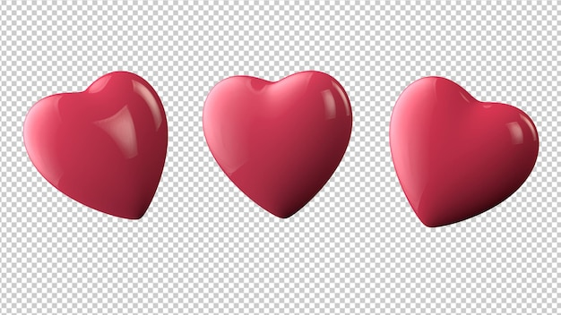 3d hearts in different angles isolated