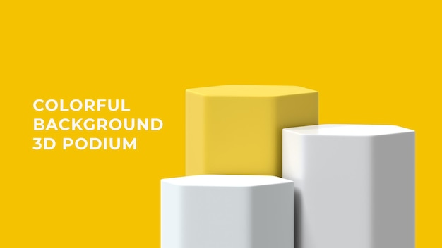 3d hex  podium with colorful background