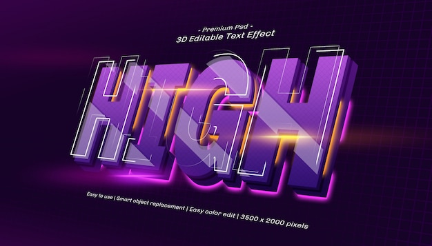 3d high editable text effect