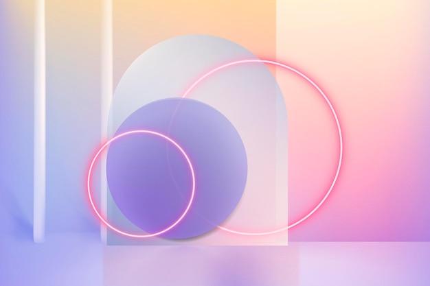 네온 링이 있는 3d 홀로그램 제품 디스플레이 psd