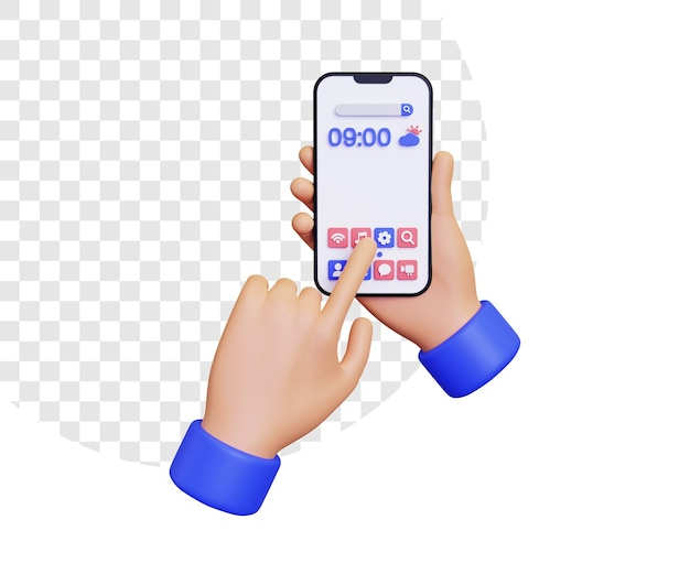 3d home screen with hand touching screen