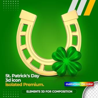 3d horseshoe for st. patrick's day render