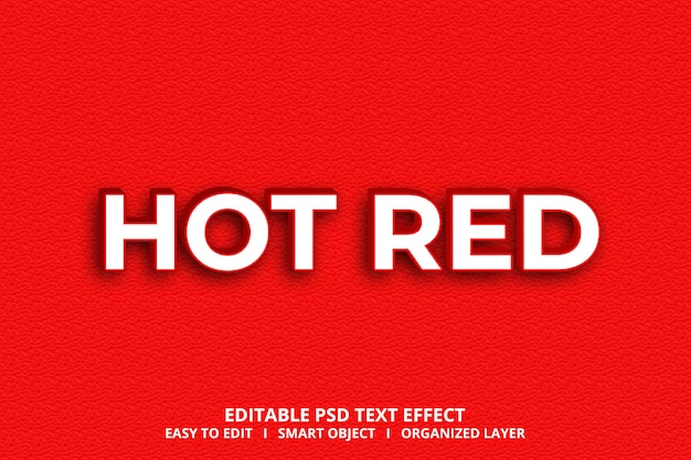 3d hot red text effect style