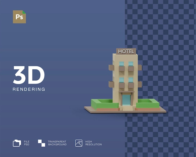 3d 호텔 건물 그림 렌더링