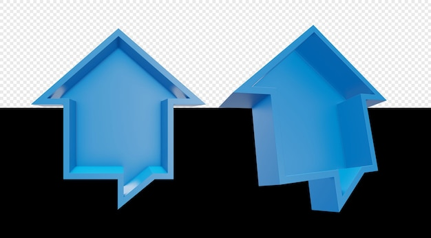 3d дом иллюстрация с изолированными формами пузыря чата