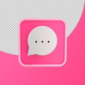 3d 아이콘 채팅 거품 핑크 절연