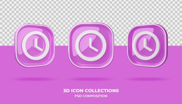 핑크 배지에 3d 아이콘 모음