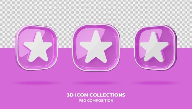 3d коллекции значков на розовом значке