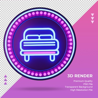 3d icon double bed hotel neon sign rendering front view
