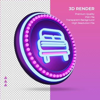 3d icon double bed hotel neon sign rendering left view