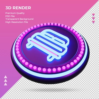 3d icon double bed hotel neon sign rendering right view