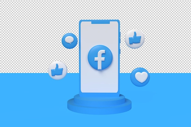 Значок 3d facebook, лайк, пузырьковый чат и любовь с телефоном. 3d визуализация