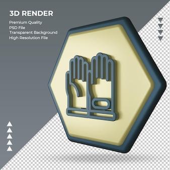 3d значок перчатки завод знак рендеринга правый вид