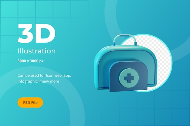 3d icon illustration, healthcare, doctors bag, for web, app, infographic