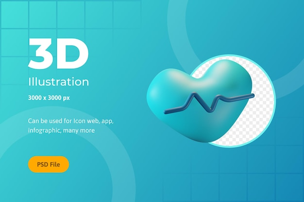3d icon illustration, healthcare, heart rate, for web, app, infographic