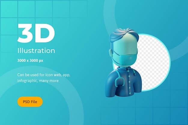 3dアイコンイラスト、ヘルスケア、男性医師、ウェブ、アプリ、インフォグラフィック用