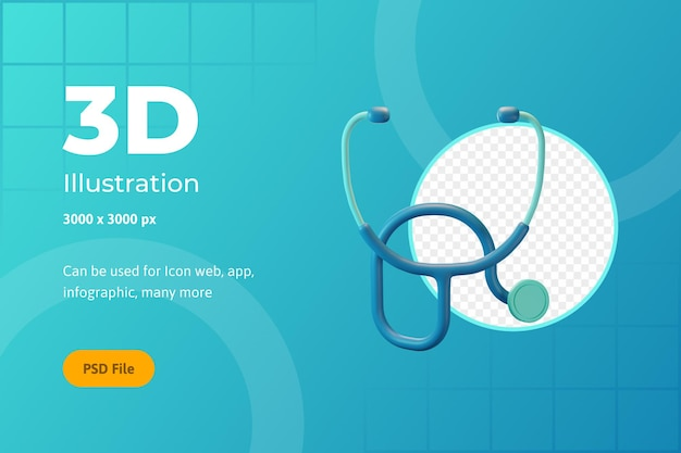 3d icon illustration, healthcare, stethoscope, for web, app, infographic