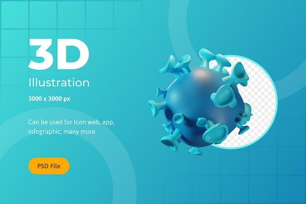 3d 아이콘 일러스트, 헬스케어, 바이러스, 웹용, 앱용, 인포그래픽 프리미엄 PSD 파일