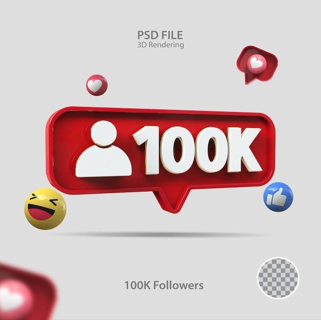 3d значок instagram 100k подписчиков визуализации