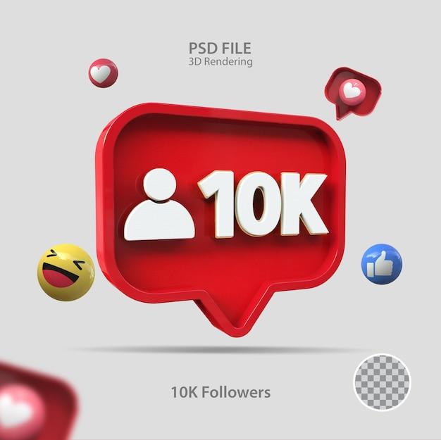 3d значок instagram 10k подписчиков визуализации