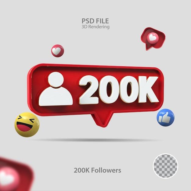 3d значок instagram 200k подписчиков визуализации
