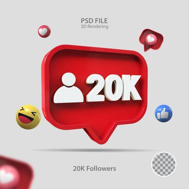 3d значок instagram 20k подписчиков визуализации