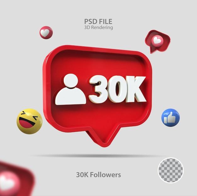 3d значок instagram 30k подписчиков визуализации