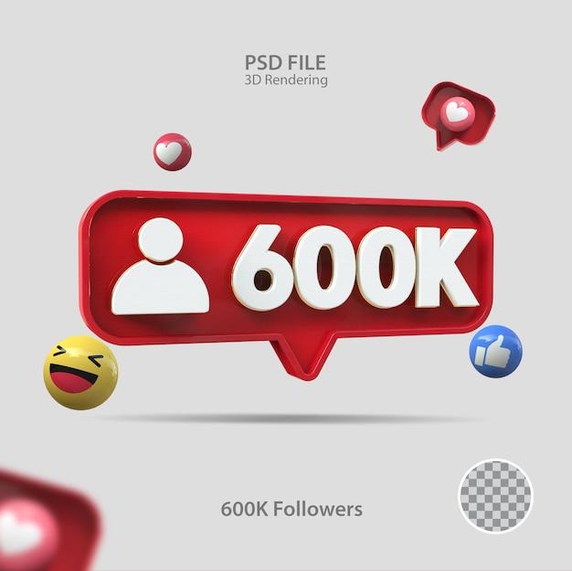 3d значок instagram 600k подписчиков визуализации