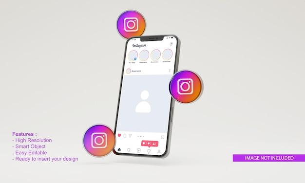 3dアイコンinstagramイラスト携帯電話モックアップ